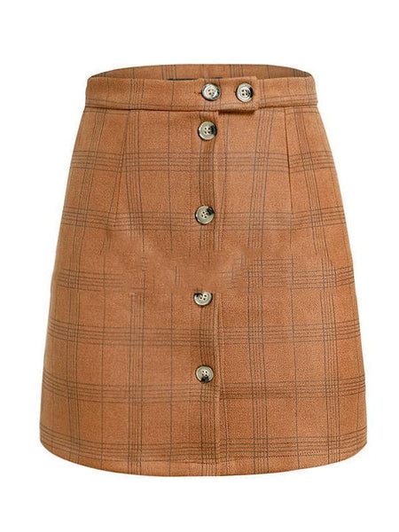 PMS Skirts brown / s Plaid High Waist Single-Breasted Short Skirt