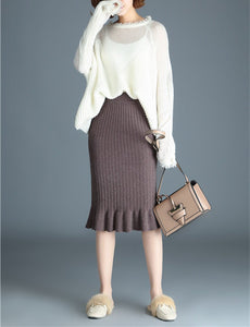PMS Skirts coffee / one size Autumn And Winter Pure Color Knitting Warm Wrap Hip Half Skirt