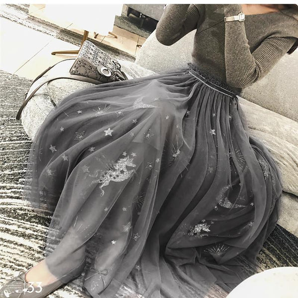 PMS Skirts Gray / s Fashion Stars Pattern Gauze Long Skirt