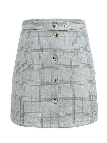 PMS Skirts gray / s Plaid High Waist Single-Breasted Short Skirt