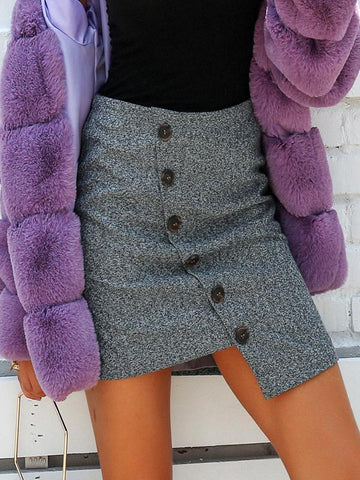 PMS Skirts light_gray / s Temperament Woolen Asymmetrical Skirt