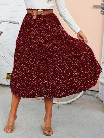 PMS Skirts red / s Fashion Polka Dot Wooden Ear Pleated Large Swing Skirt