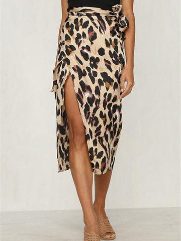 PMS Skirts Same As Photo / s Leopard Pattern High Waist Rip Skirt Half Skirt