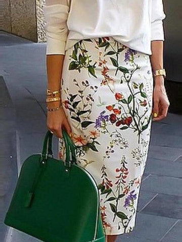 PMS Skirts White / s Elegant Floral Printed OL Pencil Midi Skirt