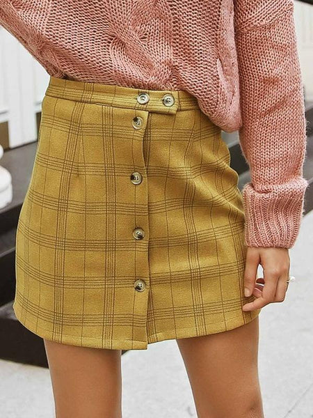 PMS Skirts yellow / s Plaid High Waist Single-Breasted Short Skirt