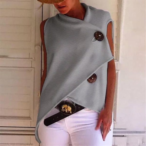 PMS Sleeveless Tops Gray / s Commuting Irregular Sleeveless Splicing Single-Breasted Loose Tops