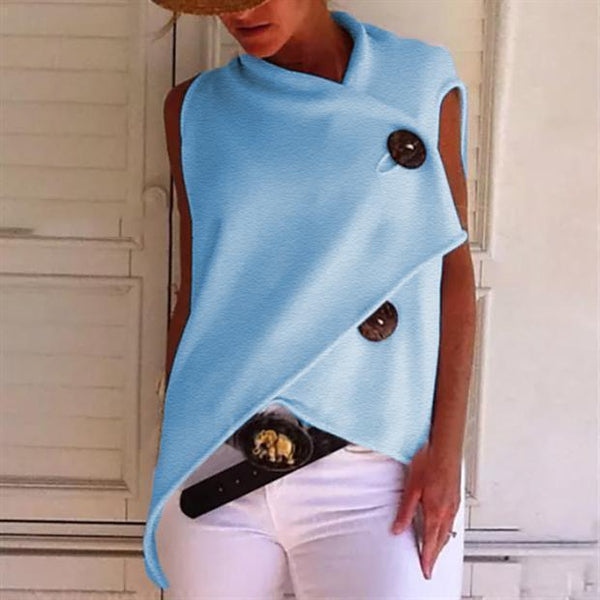 PMS Sleeveless Tops Sky Blue / s Commuting Irregular Sleeveless Splicing Single-Breasted Loose Tops