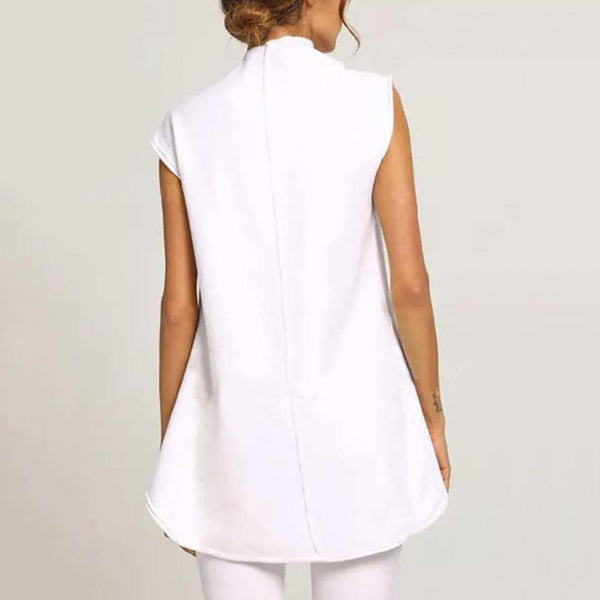 PMS Sleeveless Tops White / s Commuting Irregular Sleeveless Splicing Single-Breasted Loose Tops