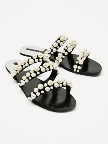 PMS Slippers Black / 37 Fashion Simple   Pearl Decorative Strip Flat Slippers