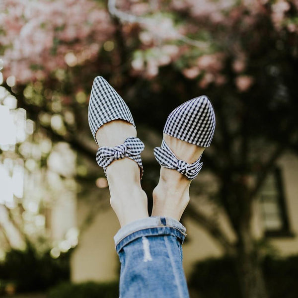 PMS Slippers Lattice / 35 Fashion Pointed Bow Flat Slippers
