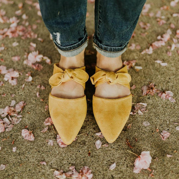 PMS Slippers Yellow / 35 Fashion Pointed Bow Flat Slippers