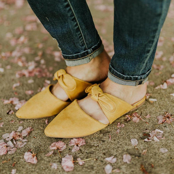 PMS Slippers Yellow / 41 Fashion Pointed Bow Flat Slippers