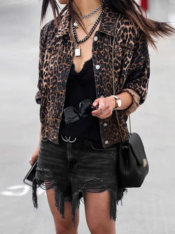 Fashion Leopard Print Fold Over Collar Long Sleeve Coat