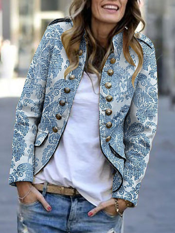 PMS Suit Jackets Light Blue / s Fashion Print Long Sleeve Suit Jackets