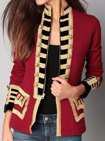 PMS Suit Jackets Same As Photo / s Fashion Long Sleeve Pure Colour Splicing Little Suit