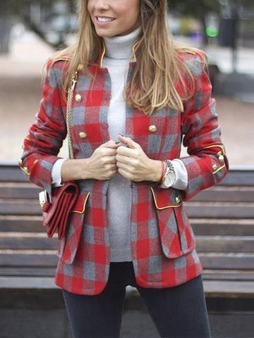PMS Suit Jackets Same As Photo / s Fashion Plaid Stitching Long Sleeve Small Suit Jackets