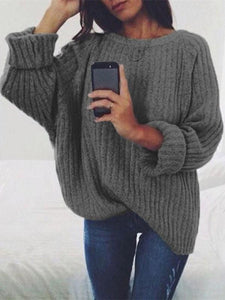 PMS Sweater Dark Grey / s Pure Color Big Circle Collar Long Sleeve Head Sweater