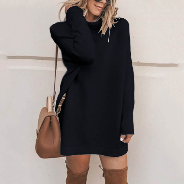 PMS Sweater Dresses Black / s Fashion Stand Collar Sweater Dress Casual Dresses
