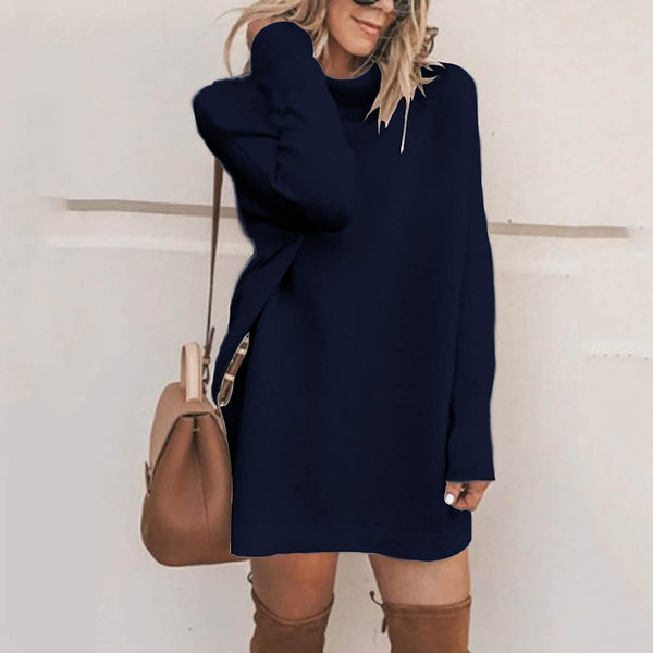 PMS Sweater Dresses Blue / s Fashion Stand Collar Sweater Dress Casual Dresses
