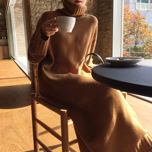 PMS Sweater Dresses Camel / one size Casual High collar long knitted Maxi dress
