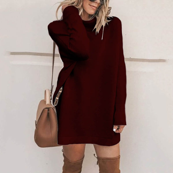 PMS Sweater Dresses Claret / s Fashion Stand Collar Sweater Dress Casual Dresses