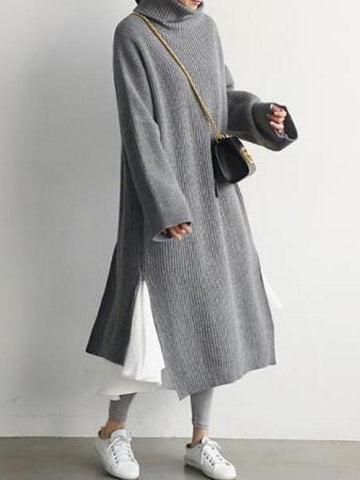 PMS Sweater Dresses Gray / one size Casual Simple Pure Color Loose High Collar Knitted Maxi Dress