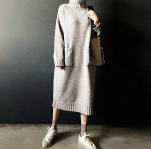 PMS Sweater Dresses Gray / one size Fashion Simple Loose High Necked Knitted Casual Dress