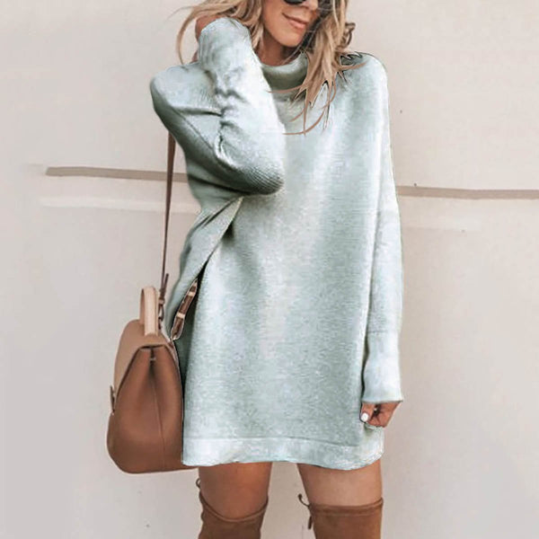 PMS Sweater Dresses Gray / s Fashion Stand Collar Sweater Dress Casual Dresses