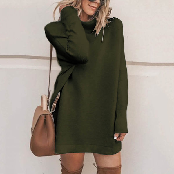 PMS Sweater Dresses Green / s Fashion Stand Collar Sweater Dress Casual Dresses