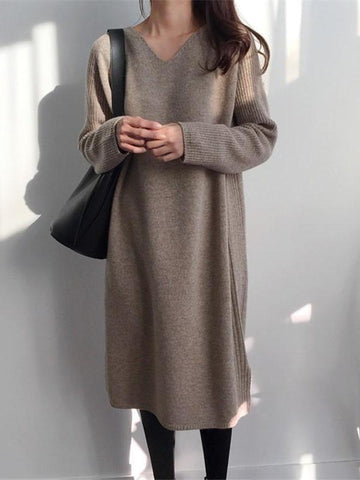 PMS Sweater Dresses Same As Photo / one size Fashion V Collar Long Sleeve Flattering Knitted Maxi Dress