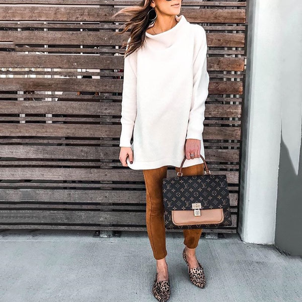 PMS Sweater Dresses White / s Fashion Stand Collar Sweater Dress Casual Dresses
