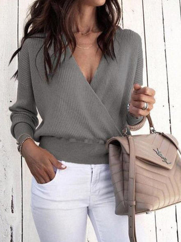 PMS Sweater Gray / l Sexy V Neck Long Sleeve Mini Knitting Sweaters