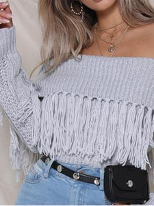 PMS Sweater gray / one size Sexy Plain Off Shoulder Fringe Side Long Sleeve Sweater
