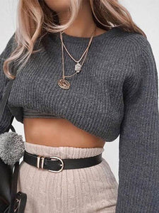 PMS Sweater gray / s Fashion Knit Long Sleeve Sweater