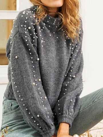 PMS Sweater gray / s Round Neck Pullover Loose Pearl Sweater