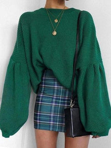 PMS Sweater Green / s Fashion Round Collar Long Sleeve Loose Comfortable Sweater