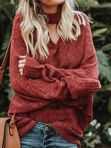 PMS Sweater Red / s Oversize Bat Sleeve V-Neck Pullover Knit Sweater