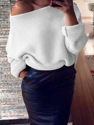 PMS Sweater White / one size One - Word Neck Pure Color Sweater Knitted Sweater