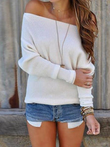 PMS Sweater White / s Sexy Shoulder Long Sleeves Sweater
