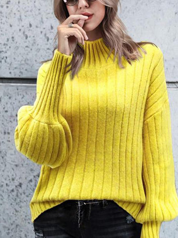 PMS Sweater Yellow / one size High Collar Sweater Solid Long Sleeve Pullover