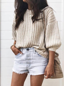 PMS Sweaters Beige / m Autumn And Winter Fashion Pure Color Pit Strip Knitted Top