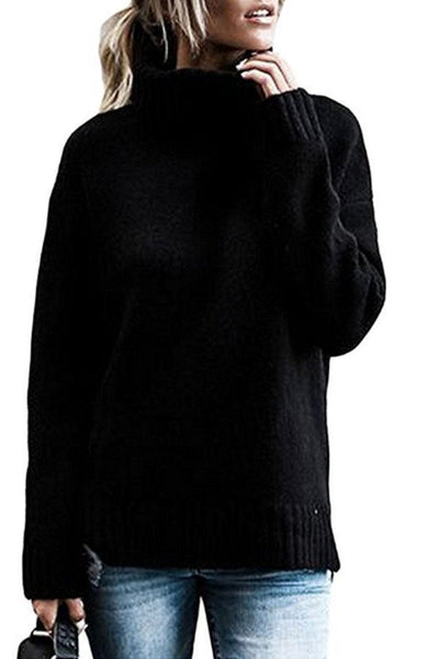 PMS Sweaters Black / 3xl Turtle Neck  Plain Warm Sweaters