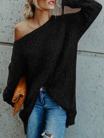 PMS Sweaters Black / l One Shoulder  Loose Fitting  Plain Sweaters