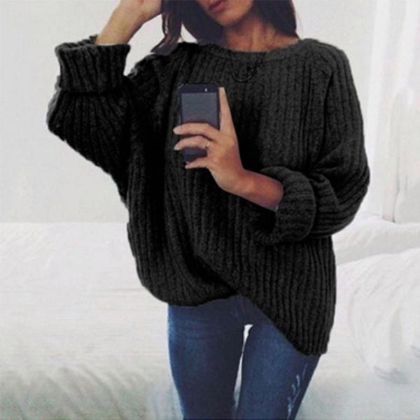 PMS Sweaters Black / s Fashion Round Neck Long Batwing Sleeve Knitting Plain Sweaters