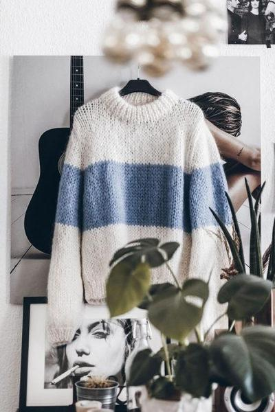 PMS Sweaters Blue / s High Neck  Color Block Patchwork Sweaters