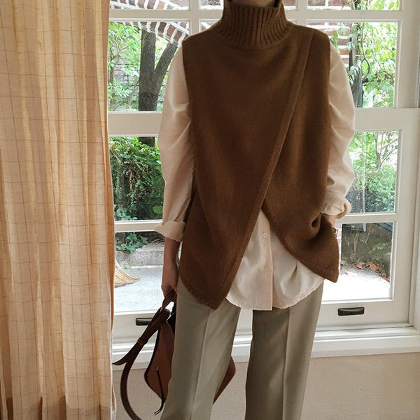 PMS Sweaters Camel / one size Casual High Collar Slit Pure Colour Vest Sweater