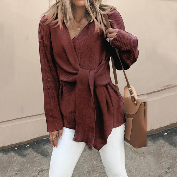 PMS Sweaters Claret / s Fasion V Neck Solid Color Bandage Sweater