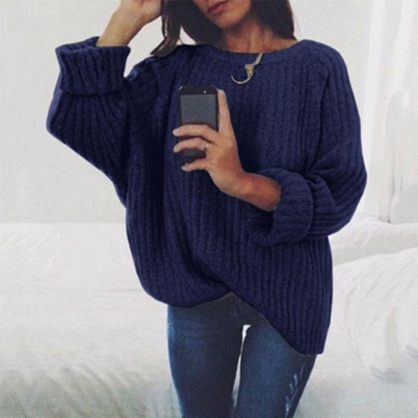 PMS Sweaters Dark Blue / s Fashion Round Neck Long Batwing Sleeve Knitting Plain Sweaters