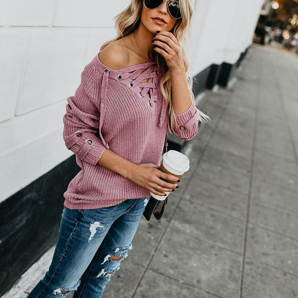 PMS Sweaters Glamorous Hollow Out Lace-Up Plain Sweater