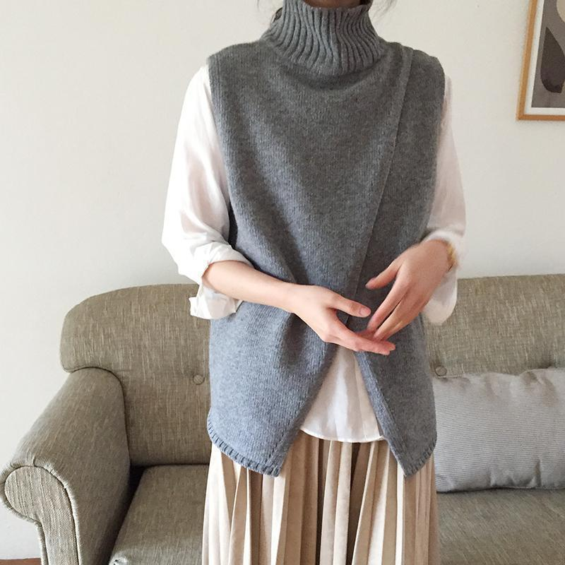 PMS Sweaters Gray / one size Casual High Collar Slit Pure Colour Vest Sweater